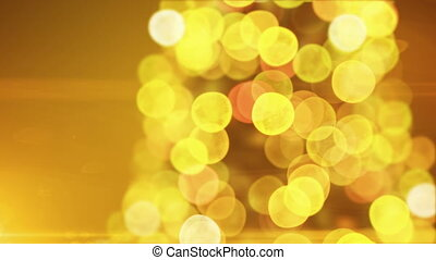 Beautiful Golden Christmas Tree Lights Flickering and Turning Close-up in Blur Bokeh on Yellow Background. Looped 3d Animation. Merry Christmas and Happy New Year Concept. 4k Ultra HD 3840x2160