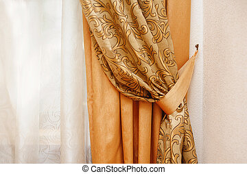 beautiful golden curtain in the bedroom