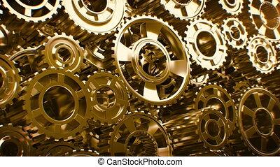 Beautiful Golden Gears Wall Seamless Rotation. Beautiful...