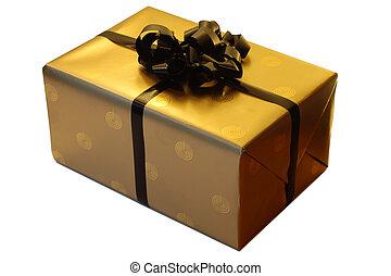 Beautiful golden gift on white