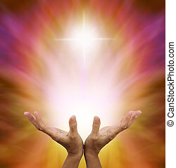 Beautiful Golden Healing Energy - Female hands outstretched...