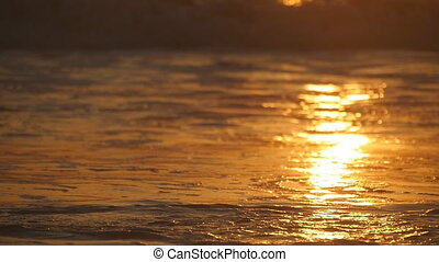 Beautiful golden ocean waves on sunset. Orange sunrise reflected at the sea water. Tide with waves splashes on a windy day at evening. Nature background Close up Slow motion