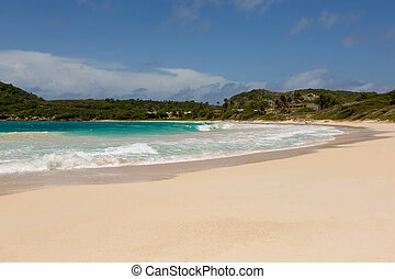 Beautiful Golden Sandy Beach at Half Moon Bay Antigua in the Sunshine
