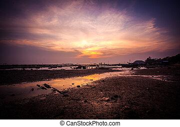 Beautiful golden sunset on the sea, Thailand, Koh Samui