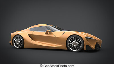 Beautiful golden super sports car