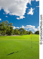 Landscape of a beautiful green golf course with sky