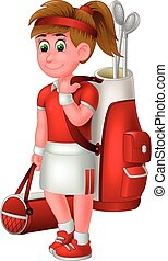 Beautiful Golf Woman in Red White Uniform With Golf Bag Cartoon