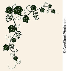 Beautiful grape vine green silhouette on beige background. Vector illustration.