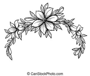 Beautiful graphic drawing Lily branch with leaves and buds...