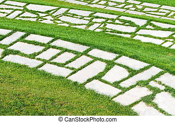 beautiful grass lawn with stones