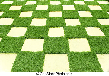 Beautiful grass tiles in a garden