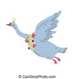 Beautiful Gray Flying Swan Princess with Golden Crown, Lovely Fairytale Bird Queen with Flowers, Vector Illustration