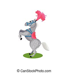 Beautiful gray spotted horse with pink feather headdress, standing on its hind legs. Circus animal. Flat vector design