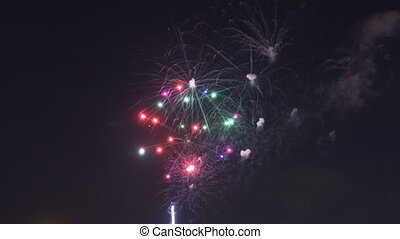 Beautiful gree purple blue red celebration fireworks located...