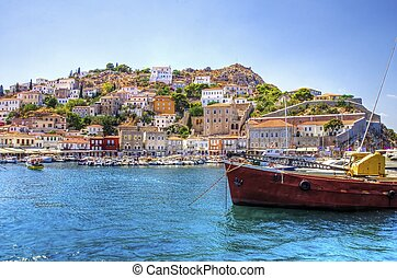 Beautiful Greek island, Hydra - A view of the beautiful...