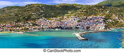 Beautiful greek islands- amazing Skopelos. view of town and port. Northen Sporades, Greece