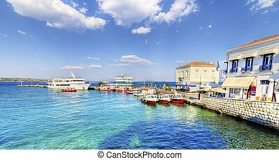 Beautiful Greek Island, Spetses - A view of the port of the...