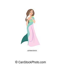 Beautiful greek woman god Aphrodite with long dress