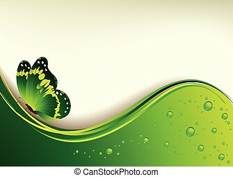 Beautiful green background with the butterfly