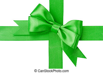 Beautiful green bow and ribbon isolated on white background