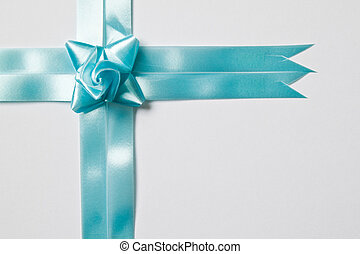 Beautiful green bow on white background