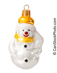 beautiful green christmas ball in the shape of a snowman isolated on white background