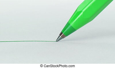 Beautiful Green Color Pen Drawing Line on Paper Close-up....
