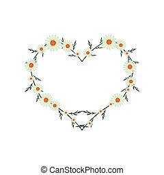Beautiful Green Daisy Flowers in Heart Shape