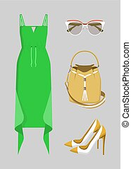 Beautiful Green Dress with Various Accessories