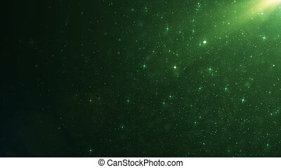 Beautiful Green Emerald Floating Dust Particles with Flare on Black Background in Slow Motion. Looped 3d Animation of Dynamic Wind Particles In The Air With Bokeh. 4k Ultra HD 3840x2160