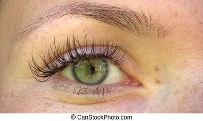 Beautiful green eye - Close-up of young woman's green eye