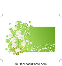 Beautiful green frame with lily of the valley