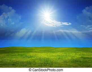 beautiful green grass field with sun shine on clear blue sky...