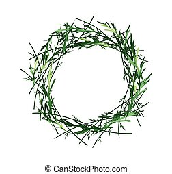 Beautiful Green Leaves Wreath on White Background
