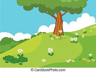 Beautiful green meadow with mushroo