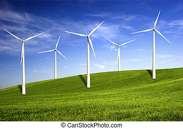 Wind turbines - Beautiful green meadow with Wind turbines ...