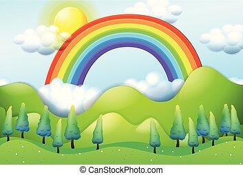 Beautiful Green Mountain and Rainbow illustration