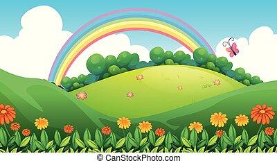 Beautiful Green Mountain and Rainbow
