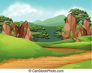 Beautiful green nature landscape