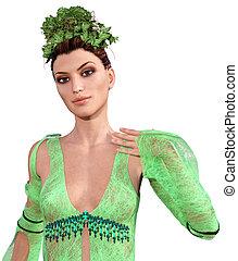 Beautiful Green Nymph - Portrait of young beautiful Nymph...