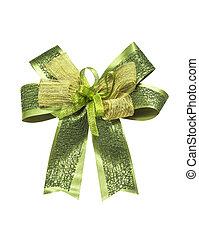 Beautiful green ribbon on white