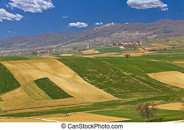 Beautiful green scenery - fields and mountain, Kalnik,...