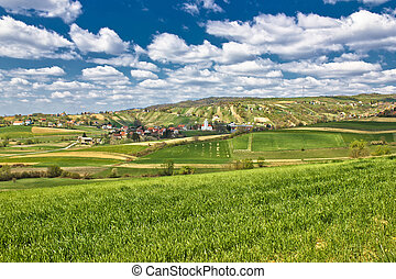 Beautiful green springtime landscape in Croatian village,...
