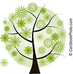 Beautiful green tree on a white bac
