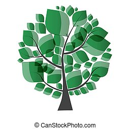 Beautiful Green Tree on a White Background Vector Illustration