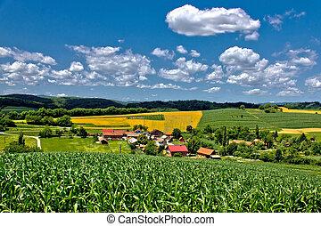 Beautiful green village scenery landscape in spring time III