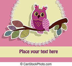 Beautiful greeting card with an owl