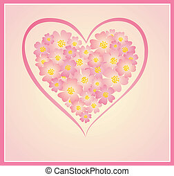 Beautiful greeting card with floral heart shape