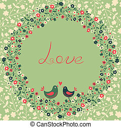 Beautiful greeting card with flowers and birds. Vector...