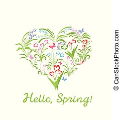 Beautiful greeting card with heart shape and spring flowers